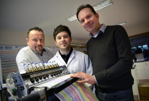 L-R: Multichem managing director Michael Nelson, Multichem product development manager Dr Tom Winstanley and Professor Justin Perry of Northumbria University.