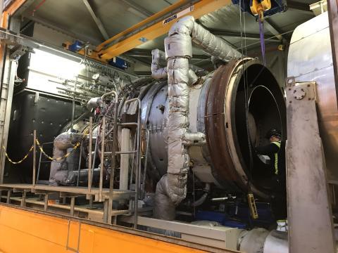 Testturbinen som installerats på Rya kraftvärmeverk.