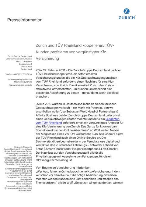 Zurich und TÜV Rheinland kooperieren: TÜV-Kunden profitieren von vergünstigter Kfz-Versicherung