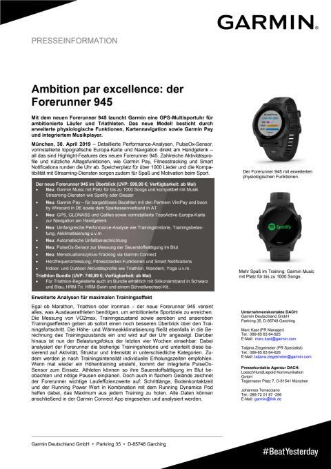 Ambition par excellence: der Forerunner 945