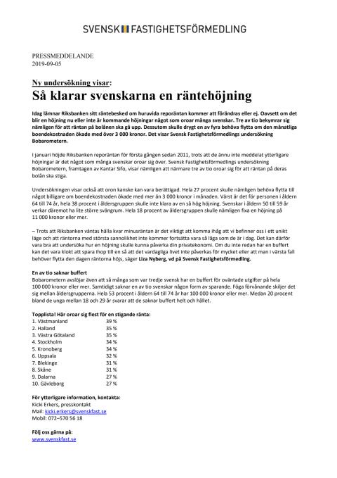 Ny undersökning visar: Så klarar svenskarna en räntehöjning