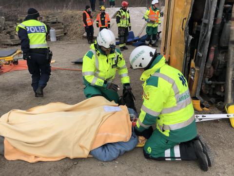Övning med bussolycka i Helsingborg.