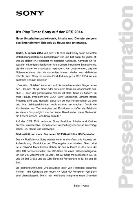 It's Play Time: Sony auf der CES 2014