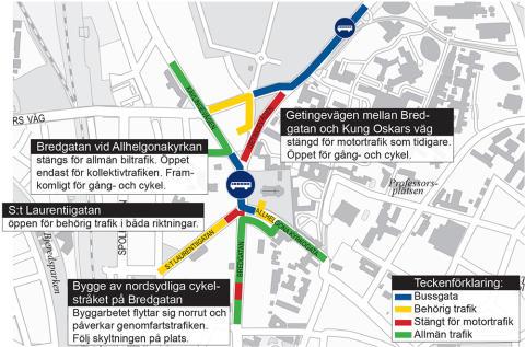Bredgatan vid Allhelgonakyrkan stängs för allmän biltrafik