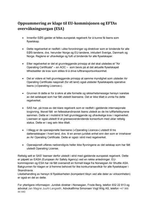 Oppsummering av klage til EU-kommisjonen og EFTAs overvåkningsorgan (ESA)