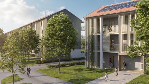 BoKloks första kommande projekt med solceller, BoKlok Esplanaden, i Upplands Väsby i Stockholm. Beräknad inflyttning oktober 2018.
