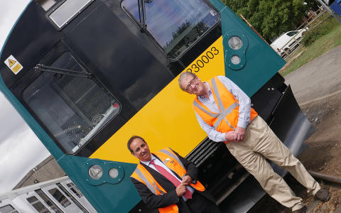 Jan Chaudhry-van der Velde and Adrian Shooter and unit 230003 at Long Marston depot