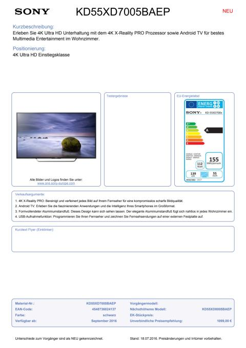 Datenblatt BRAVIA KD-55XD7005BAEP von Sony