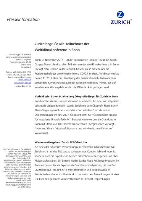 Zurich begrüßt alle Teilnehmer der Weltklimakonferenz in Bonn