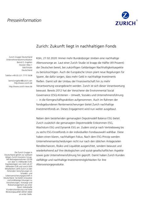 Zurich: Zukunft liegt in nachhaltigen Fonds