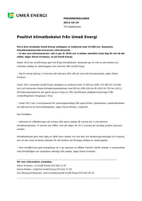 Positivt klimatbokslut från Umeå Energi