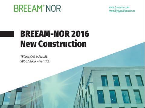 BREEAM-NOR 2016 versjon 1.2 på engelsk er lansert