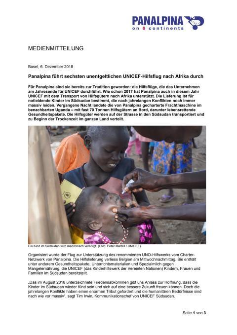 Panalpina führt sechsten unentgeltlichen UNICEF-Hilfsflug nach Afrika durch