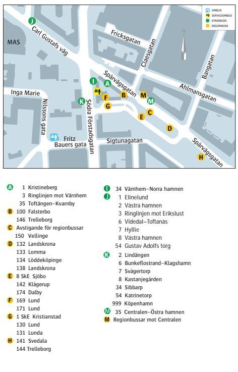 malmö centralstation karta Karta med busstrafik på Södervärn   Skånetrafiken malmö centralstation karta