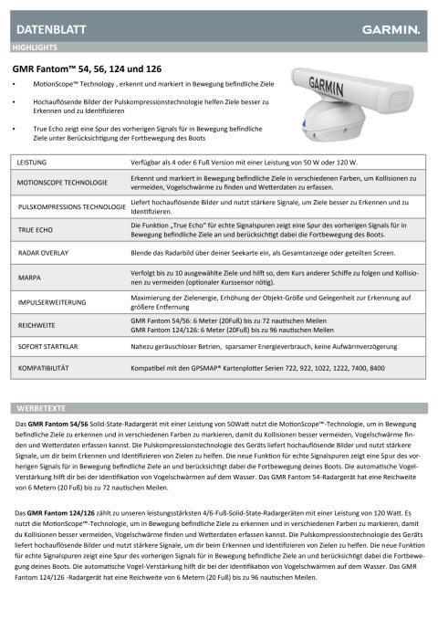 Datenblatt Garmin Radar GMR Fantom