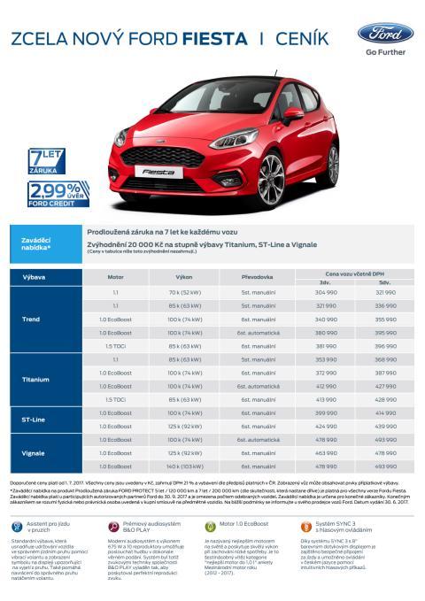 Ceník - nový ford Fiesta
