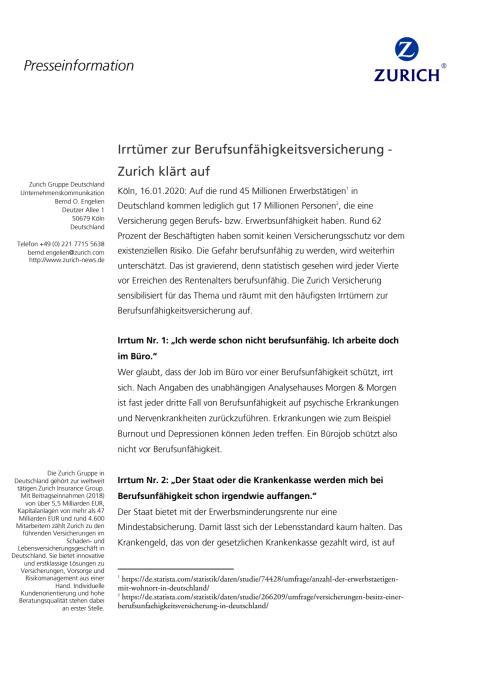 Irrtümer zur Berufsunfähigkeitsversicherung - Zurich klärt auf