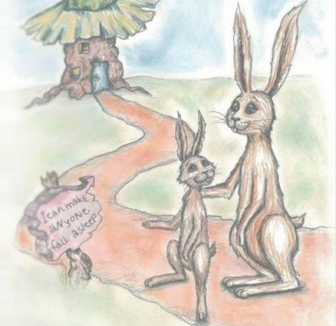 """Fra den engelske utgaven av boka """"Kaninen som så gjerne ville sovne"""""""