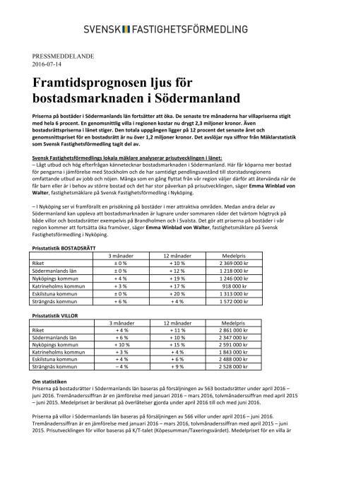 Framtidsprognosen ljus för bostadsmarknaden i Södermanland