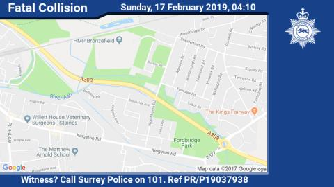 Appeal for witnesses following fatal collision in Staines