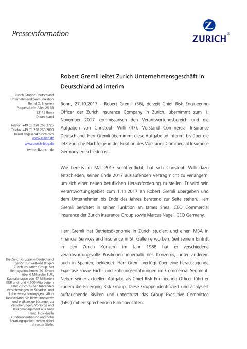 Robert Gremli leitet Zurich Unternehmensgeschäft in Deutschland ad interim