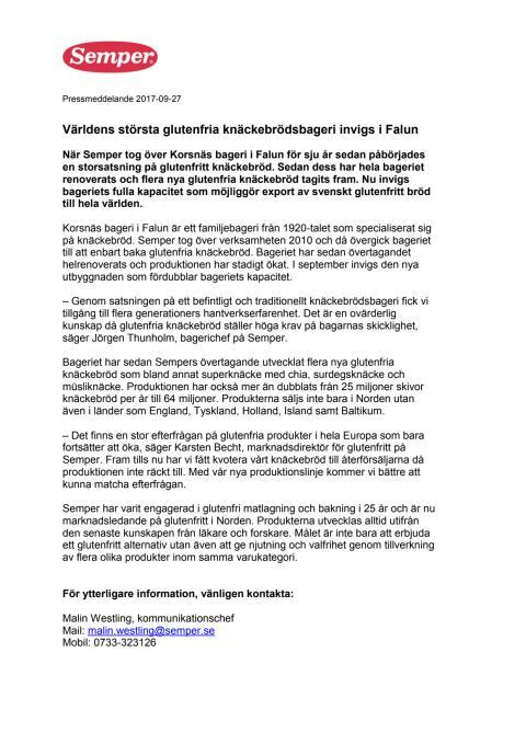Världens största glutenfria knäckebrödsbageri invigs i Falun