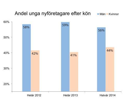 Könsfördelning bland unga nyföretagare