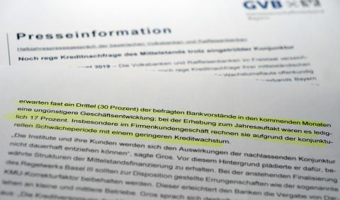Halbjahrespressegespräch der bayerischen Volksbanken und Raiffeisenbanken   / Noch rege Kreditnachfrage des Mittelstands trotz eingetrübter Konjunktur