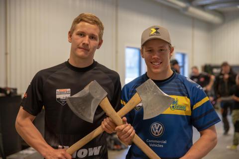 Svenska landslaget i STIHL Timbersports finslipar formen inför årets säsong