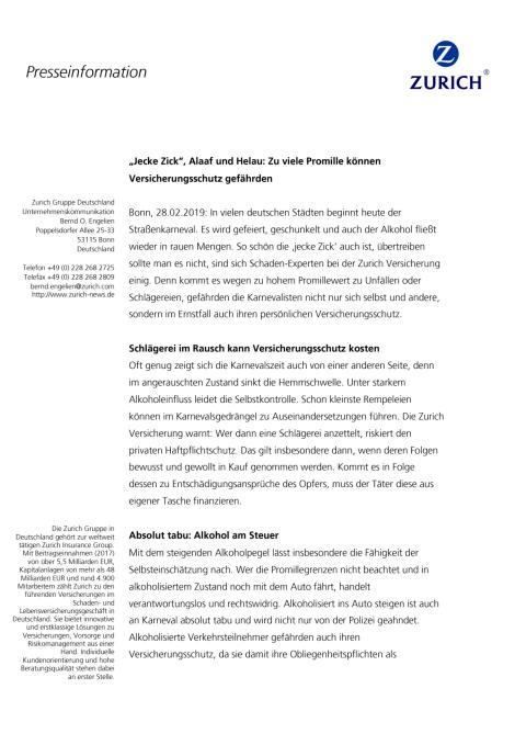 """""""Jecke Zick"""", Alaaf und Helau: Zu viele Promille können Versicherungsschutz gefährden"""