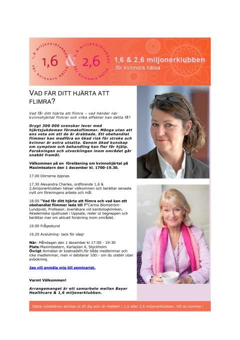 Vad får ditt hjärta att flimra -seminarium i Stockholm 1 december