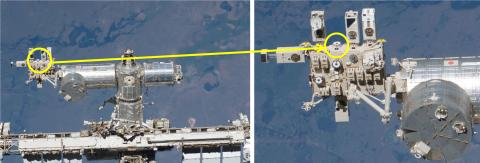 Mounting position of the α7S II on the ISS (© JAXA/NASA)