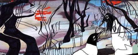 Konstnär S Camilla E Boström målar pumphus i Kortedala