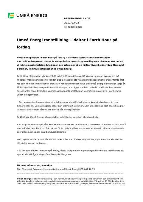 Umeå Energi tar ställning – deltar i Earth Hour på lördag