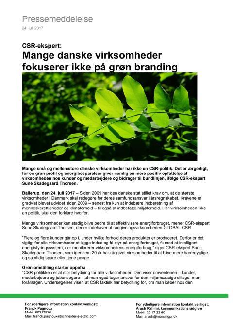 CSR-ekspert: Mange danske virksomheder fokuserer ikke på grøn branding