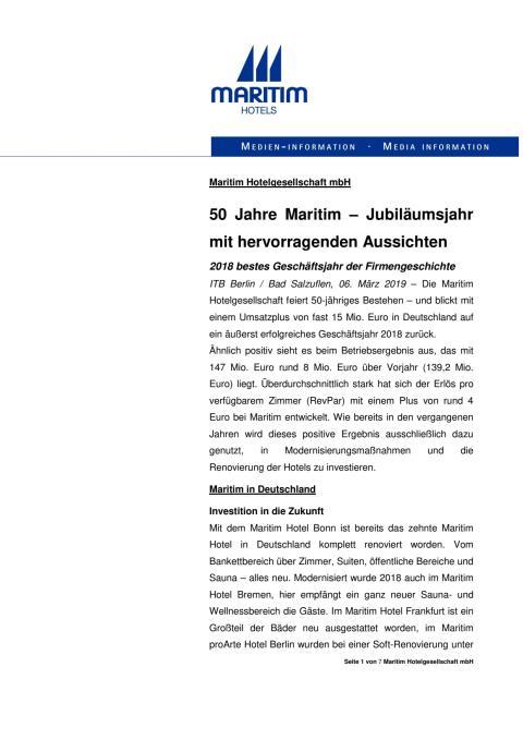 50 Jahre Maritim – Jubiläumsjahr mit hervorragenden Aussichten