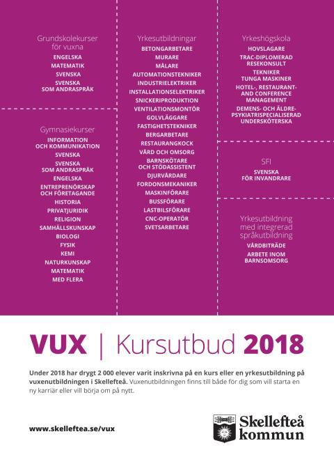 VUX Skellefteå - kursutbud 2018