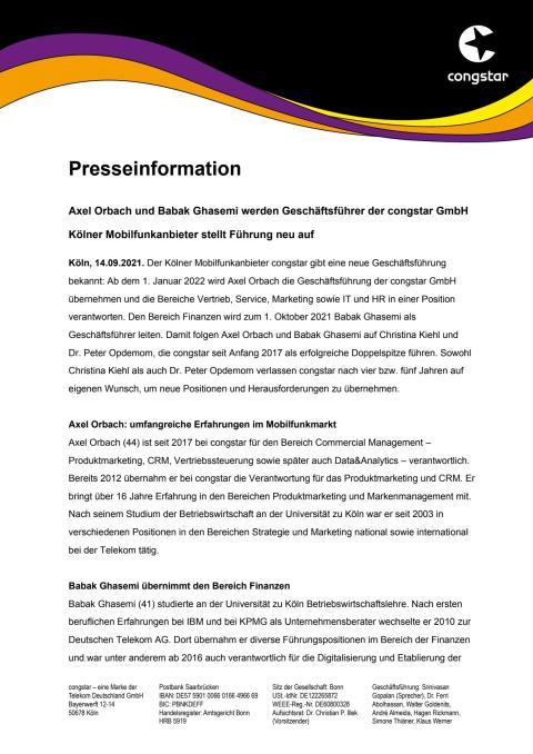 Axel Orbach und Babak Ghasemi werden Geschäftsführer der congstar GmbH