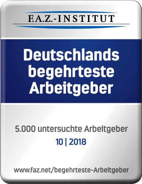 """Siegel """"Deutschlands begehrteste Arbeitgeber"""" vom F.A.Z.-Institut"""
