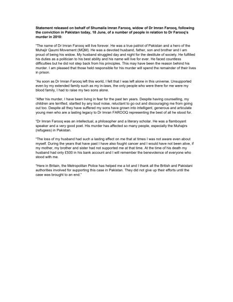 Statement released on behalf of Shumaila Imran Farooq [English]