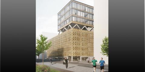 Scheiwiller Svensson ritar uttrycksfullt gym och parkeringshus i Ulriksdal