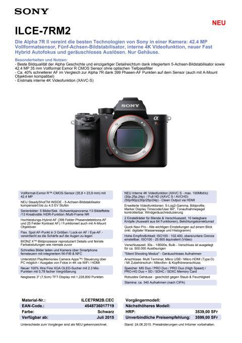 Datenblatt ILCE-7RM2 von Sony