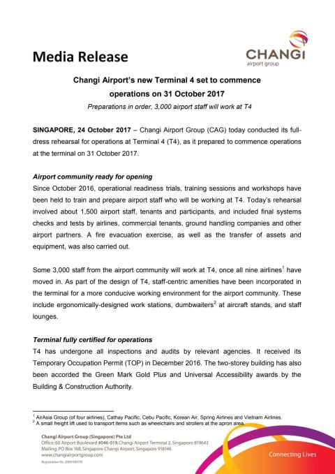 Changi Airport's new Terminal 4 set to commence operations on 31 October 2017