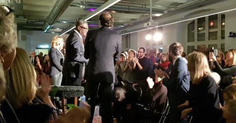 Dr Denis Mukwege i intervju med Malou von Sivers i Kvadrat Stockholms lounge