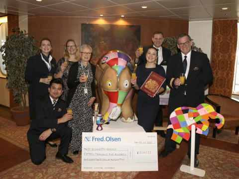 Fred. Olsen Cruise Lines' 'Elmer's Travel Trunk' sets sail on South American adventure, following donation of £15,000 to St Elizabeth Hospice