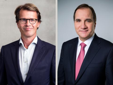 Telenor CEO Mats Lundquist and Swedish Prime Minister Stefan Löfven