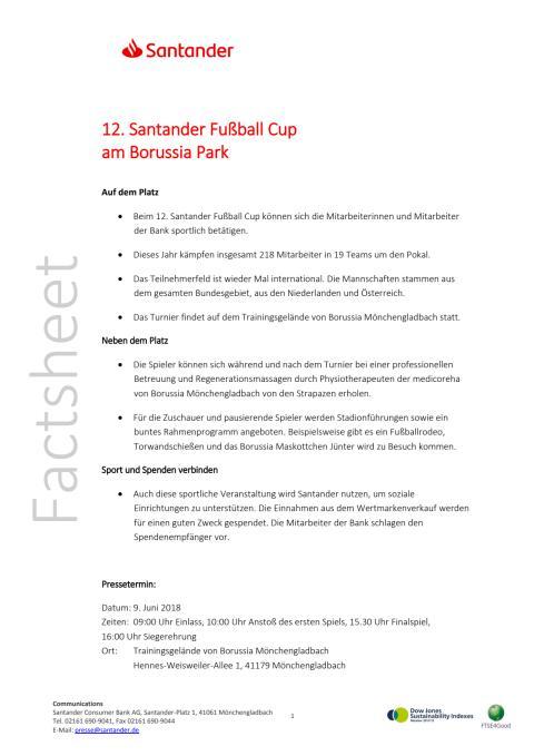 Factsheet Santander Fußball Cup 2018