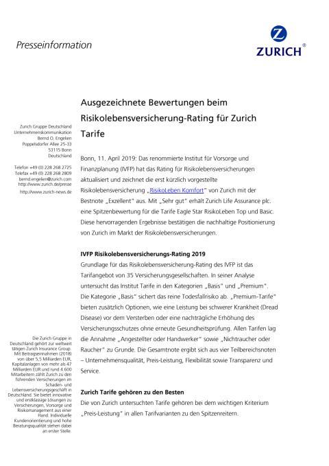 Ausgezeichnete Bewertungen beim Risikolebensversicherung-Rating für Zurich Tarife