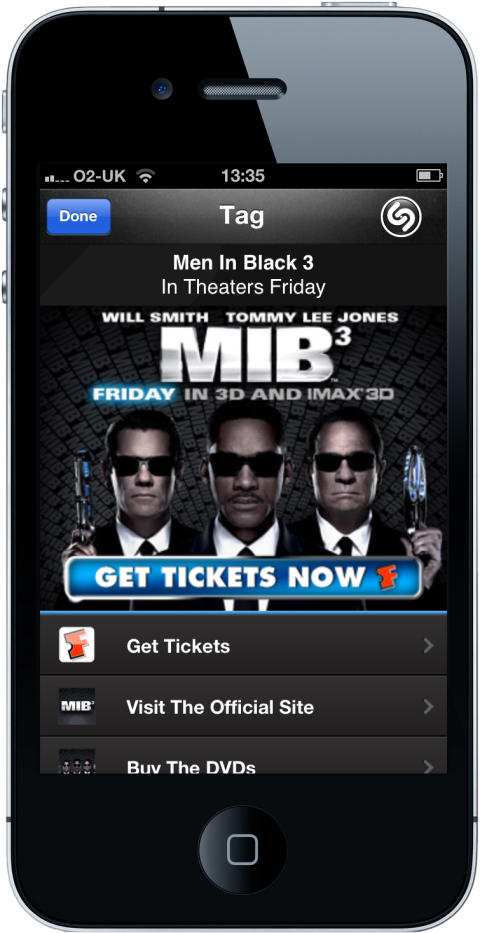 "Moviegoers ""Shazam-for-Tickets"" with TV Commercials for ""Men in Black™ 3"""