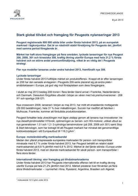 Stark global tillväxt och framgång för Peugeots nylanseringar 2013